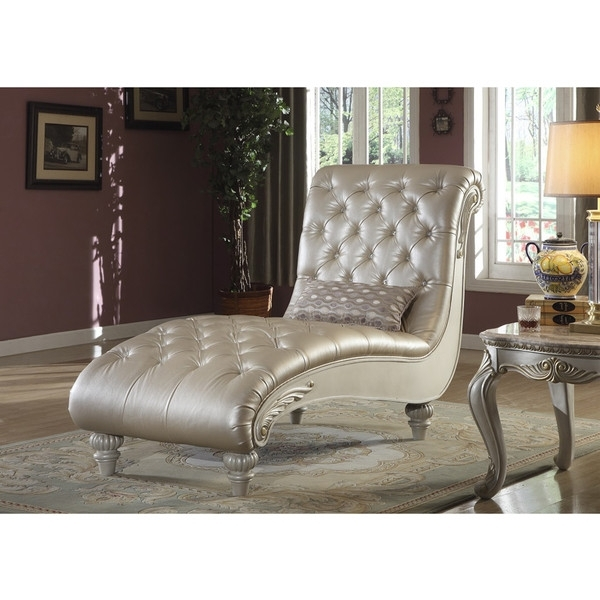 Well Known Meridian Marquee Pearl White Crystal Tufted Chaise Lounge Found On Regarding Tufted Chaise Lounge Chairs (View 14 of 15)