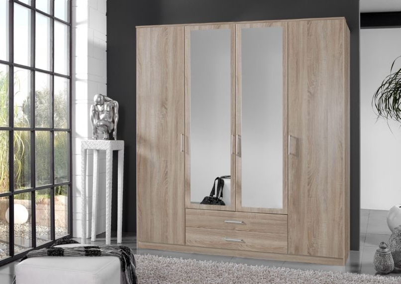 Well Known Mirrored Wardrobes With Drawers With Regard To 4 Door 2 Drawer Mirror Wardrobe (View 4 of 15)