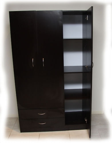 Well Known Mission 3 Doors Wardrobe Combo With 2 Drawers In Box – Walnut Within Wardrobes And Drawers Combo (View 14 of 15)