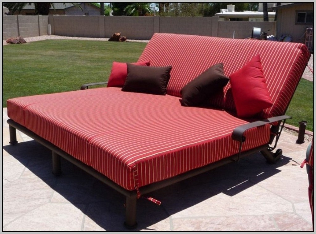 Well Known Outdoor Double Chaise Lounges Regarding Red Double Chaise Lounge Outdoor Furniture — The Kienandsweet (View 15 of 15)