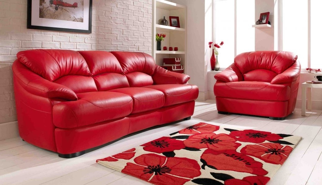 Well Known Red Leather Couches And Loveseats Regarding Fascinating Red Wallpaper For Living Room Leather Furniture Set (View 9 of 10)