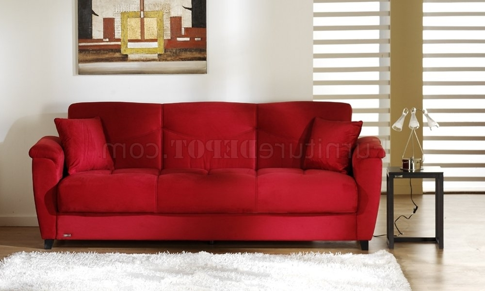 Well Known Red Sleeper Sofas For Microfiber Fabric Living Room Storage Sleeper Sofa (View 10 of 10)