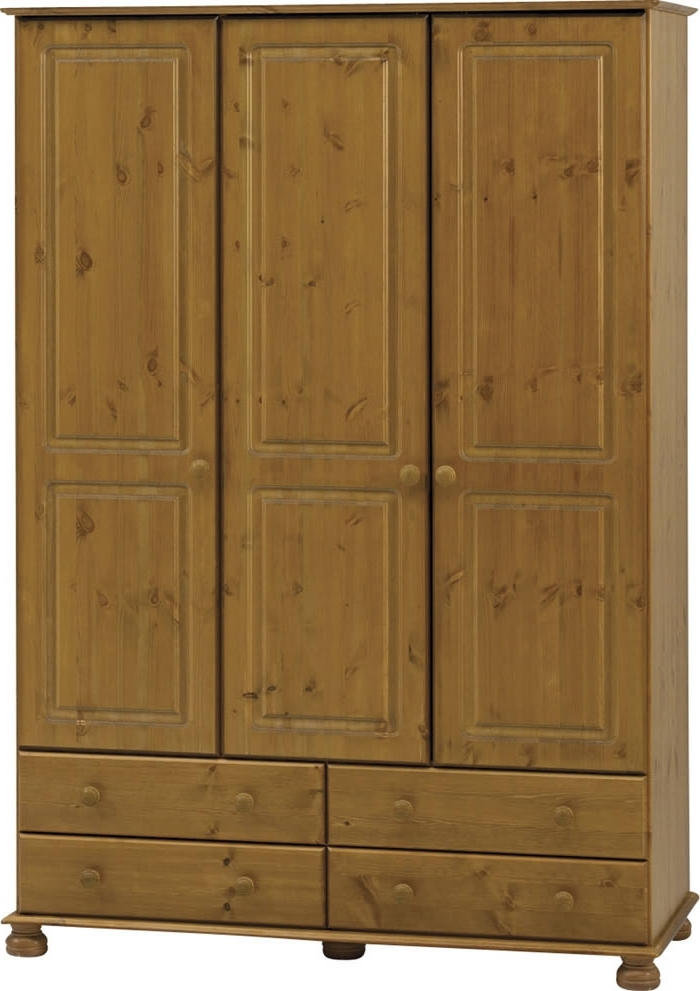 Well Known Richmond Wardrobes Intended For Triple Wardrobe – 3 Door – Pine – Steens Richmond (View 9 of 15)