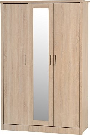 Well Known Seconique Lisbon 3 Door Wardrobe – Light Oak Effect: Amazon.co (View 15 of 15)