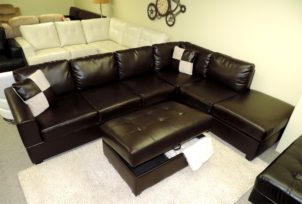 Well Known Sectional Sofa Design: Interesting Leather Sectional Sofa With With Leather Sectional Sofas With Ottoman (View 9 of 10)
