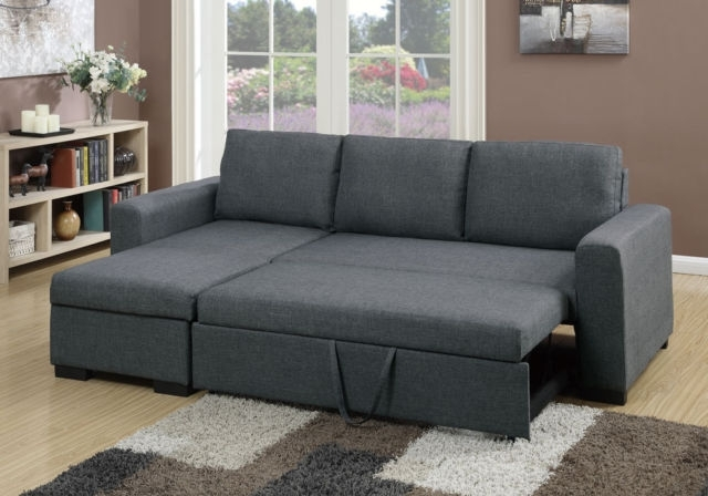Well Known Sectional Sofas At Ebay Throughout Poundex F6931 2 Pcs Blue Grey Fabric Storage Chaise Sectional Sofa (View 8 of 10)