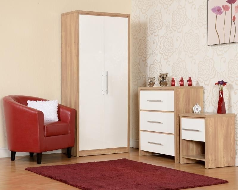 Well Known Seville Bedroom Set In Light Oak Veneer And White Hight Gloss Pertaining To White Gloss Wardrobes Sets (View 13 of 15)