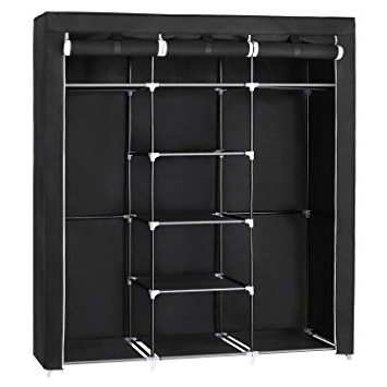 Well Known Songmics Canvas Wardrobe Cupboard Clothes Hanging Rail Storage In Double Black Covered Tidy Rail Wardrobes (View 15 of 15)