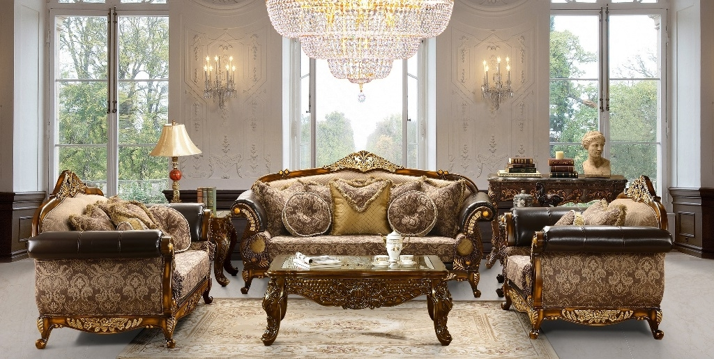 Well Known Traditional Fabric Sofa With Wood Trim Accents (View 9 of 10)