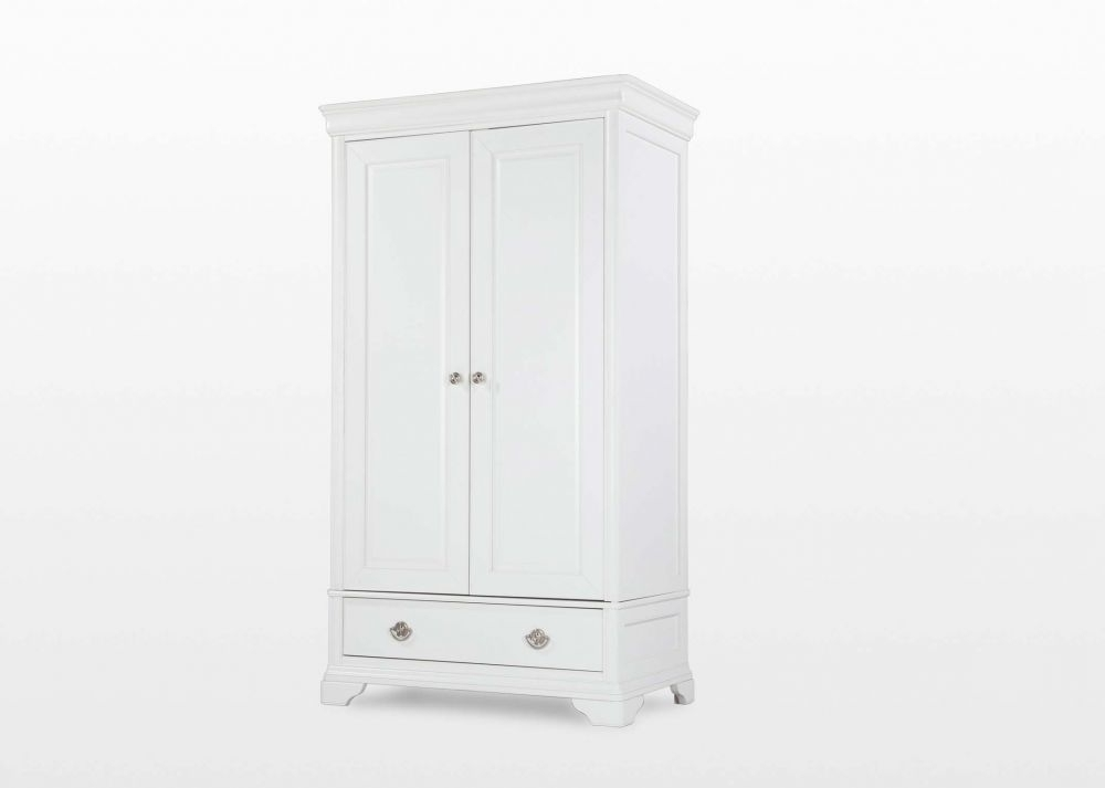 Well Known Two Door White Wardrobes For Two Door One Drawer White Wardrobe – Chantilly – Ez Living Furniture (View 15 of 15)