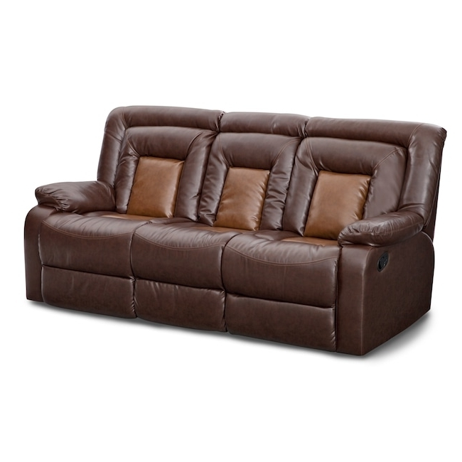 Well Known Value City Sofas Inside Artistic Reclining Sofa With Console Of Mustang Dual Brown Value (View 9 of 10)