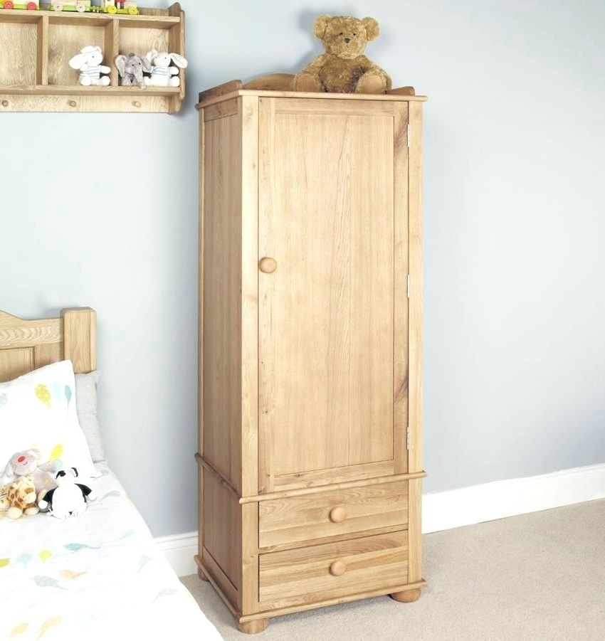 Well Known Wardrobes ~ Amelie Oak Childrens Single Wardrobe Oak One Door Within Small Single Wardrobes (View 13 of 15)