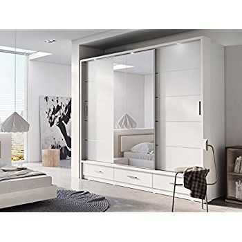 Well Known White Wardrobes With Drawers And Mirror Inside Brand New Modern Bedroom Mirror Sliding Door Wardrobe Arti 1 In (View 7 of 15)