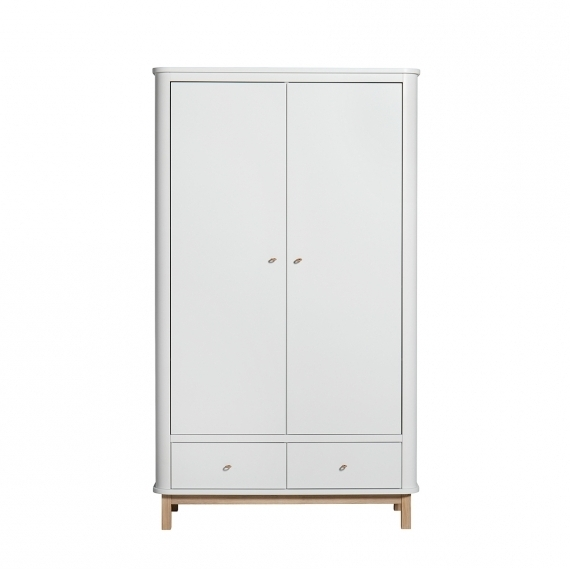 Well Known White Wood Wardrobes With Drawers Inside Wood Wardrobe 2 Doors – White/oak – Oliver Furniture (View 9 of 15)
