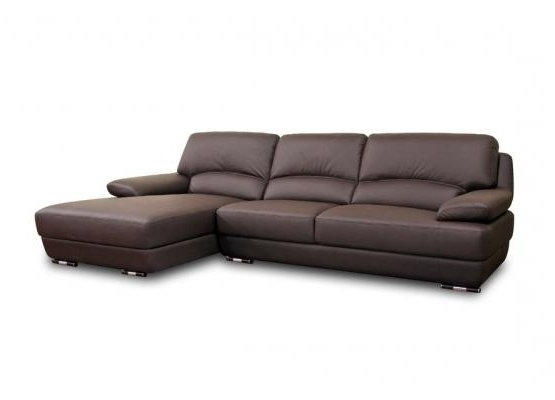 Well Known Wichita Ks Sectional Sofas With Regard To Studio Euclid Brown Leather Modern Sectional Sofa (View 8 of 10)