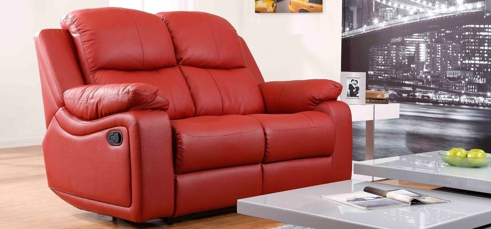 Well Liked 2 Seater Recliner Leather Sofas Pertaining To Montreal Rosso Red Reclining 2 Seater Leather Sofa – Reclining (View 10 of 10)