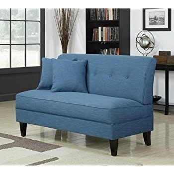 Well Liked Amazon: Portfolio Engle Caribbean Blue Linen Armless Loveseat Within Small Armless Sofas (View 10 of 10)