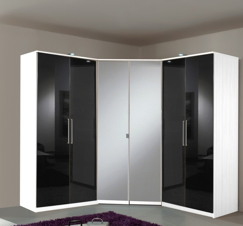 Well Liked Black Gloss Mirror Wardrobes With Slumberhaus 'gamma' 6 Door Corner Wardrobe Fitment With White (View 15 of 15)