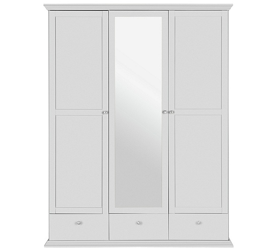 Well Liked Buy Home Canterbury 3 Door 3 Drawer Mirrored Wardrobe – White At Pertaining To White 3 Door Mirrored Wardrobes (View 11 of 15)