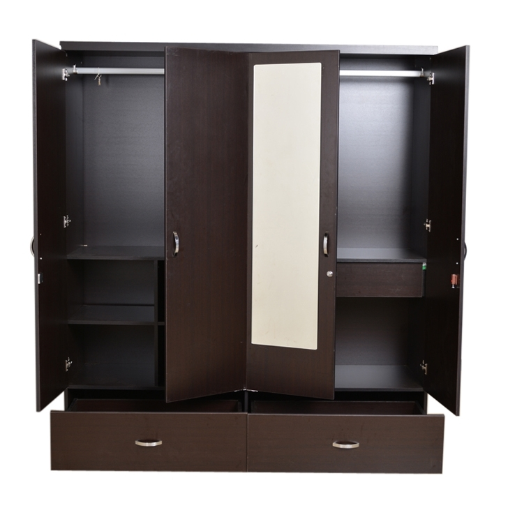 Well Liked Buy Utsav Four Door Wardrobe With Mirror In Wenge Finish Online In Pertaining To 4 Door Wardrobes With Mirror And Drawers (View 2 of 15)