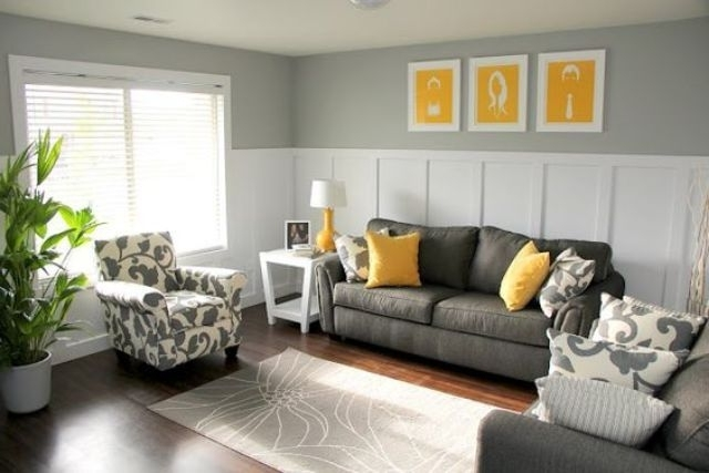 Well Liked Charcoal Grey Sofa And Chair, Yellow Pillows And Art Pieces With Charcoal Grey Sofas (View 9 of 10)