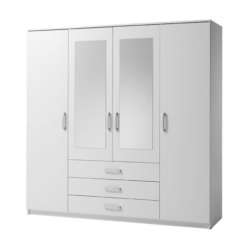 Well Liked Cheap White Wardrobes Within Vinderup 4 Door Wardrobe (White) (View 9 of 15)