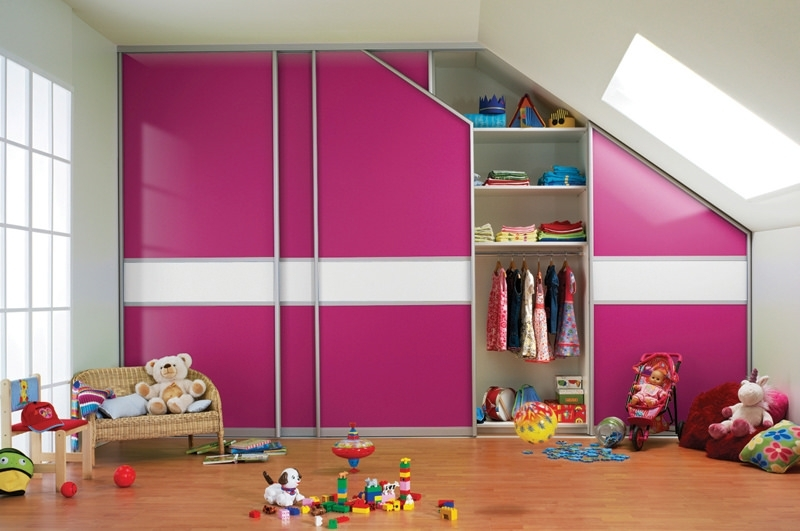 Well Liked Childrens Pink Wardrobes Pertaining To Pink Wardrobe Design For Children Room In Slanted Ceiling – Artenzo (View 15 of 15)