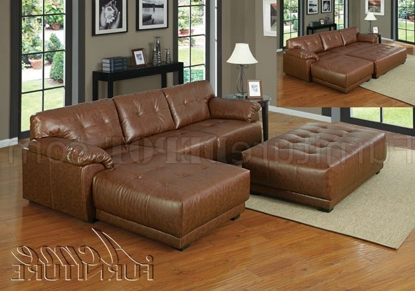 Well Liked Cool Couch With Ottoman Brown Bonded Leather Modern Sectional Pertaining To Leather Sectional Sofas With Ottoman (View 10 of 10)