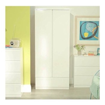 Well Liked Cream Gloss Wardrobes Inside Milano 2 Door 1 Drawer High Gloss Wardrobe In Cream Or Black (View 15 of 15)