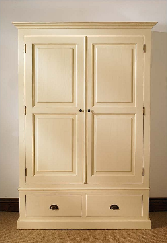 Well Liked Cream Wardrobes Regarding Mottisfont Painted Double Wardrobe 2 Drawers (View 14 of 15)