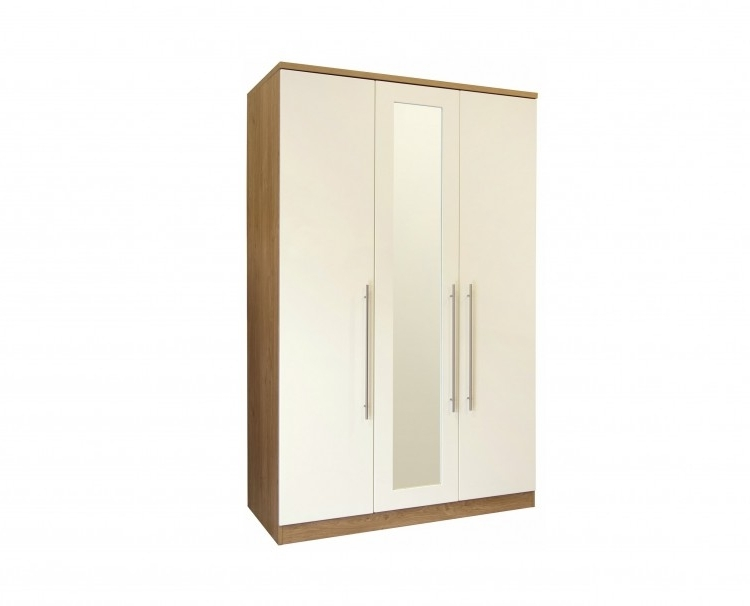 Well Liked Gfw Keswick 3 Door Cream Gloss Wardrobe With Mirrorsgfw Intended For Cream Gloss Wardrobes Doors (View 15 of 15)