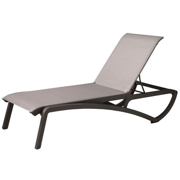 Well Liked Grosfillex Chaise Lounge Chairs In Us366288 Sunset Volcanic Black Chaise Lounge With Solid Gray Sling (View 14 of 15)