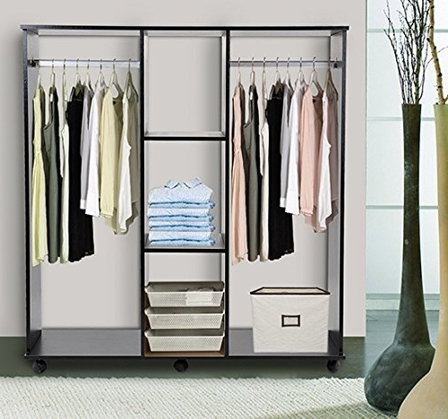 Well Liked Homcom Double Mobile Open Wardrobe With Clothes Hanging Rails Pertaining To Double Up Wardrobes Rails (View 14 of 15)