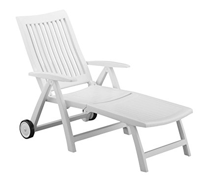 Well Liked Kettler Chaise Lounge Chairs Within Amazon : Roma Folding Lounger In White Resin : Patio Lounge (View 14 of 15)
