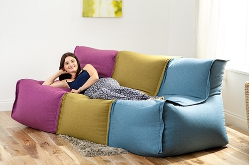 Well Liked Latte Wool Feel Modular Sectional Bean Bag Sofa Zip Together Seat With Bean Bag Sofas And Chairs (View 7 of 10)