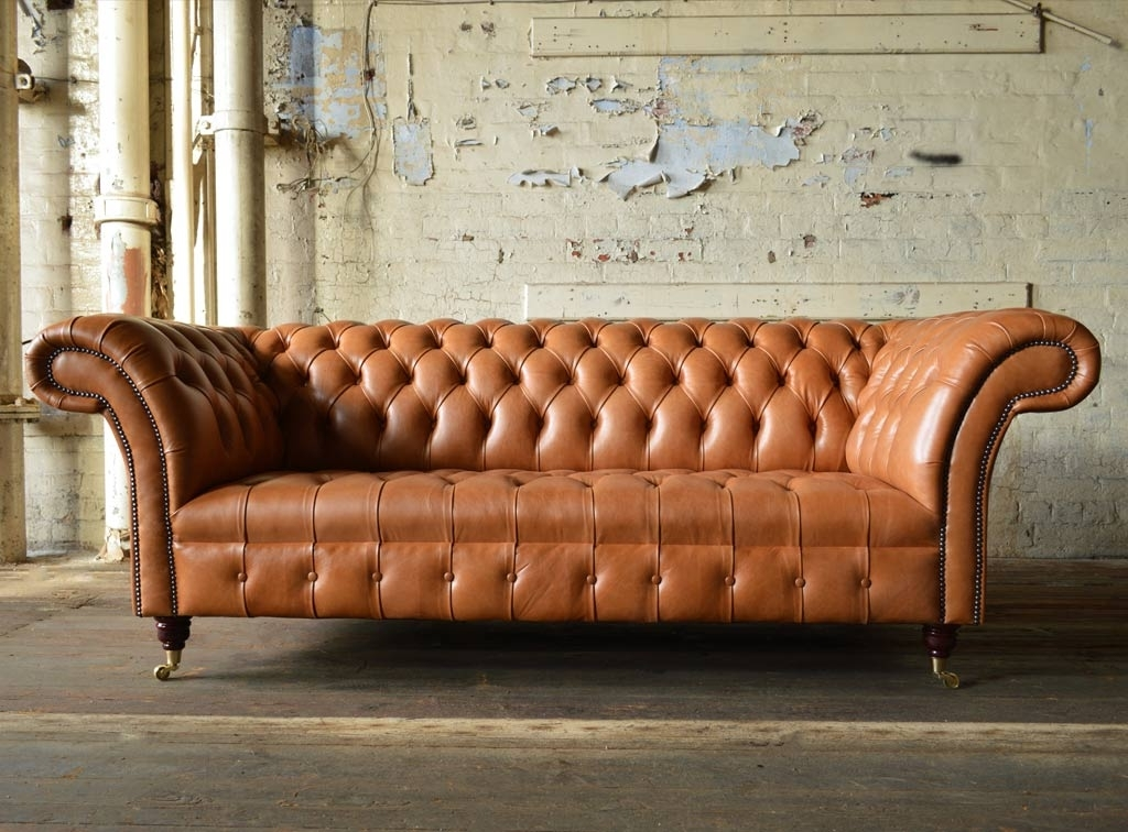 Well Liked Montana Old English Tan Leather 3 Seater Chesterfield Sofa (View 9 of 10)