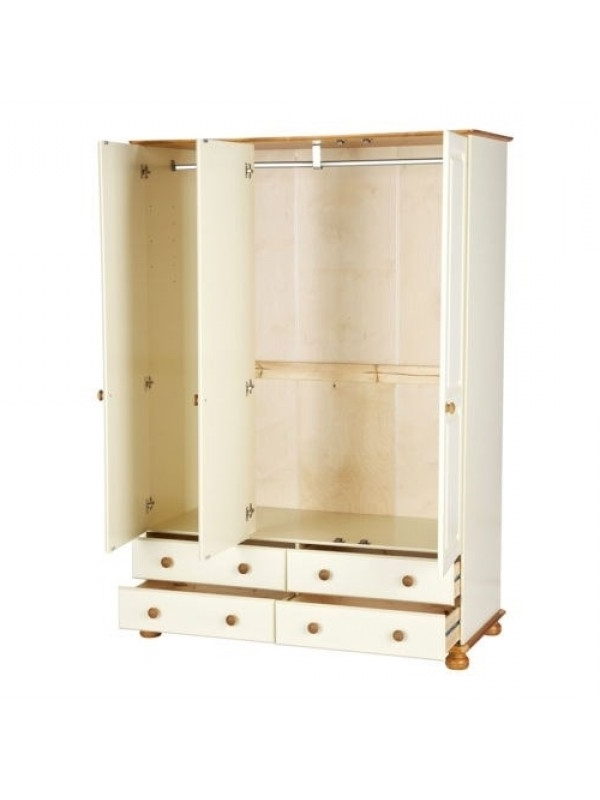 Well Liked Richmond Wardrobes Throughout Cream And Pine 3 Door 4 Drawer Wardrobe (View 12 of 15)