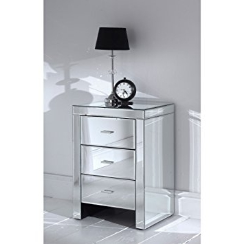 Well Liked Romano Mirrored Bedside 3 Drawer: Amazon.co (View 15 of 15)