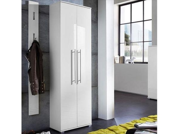 Well Liked Tall White Gloss Wardrobes Pertaining To Inside Contemporary 2 Door Hall Wardrobe In High Gloss White (View 14 of 15)