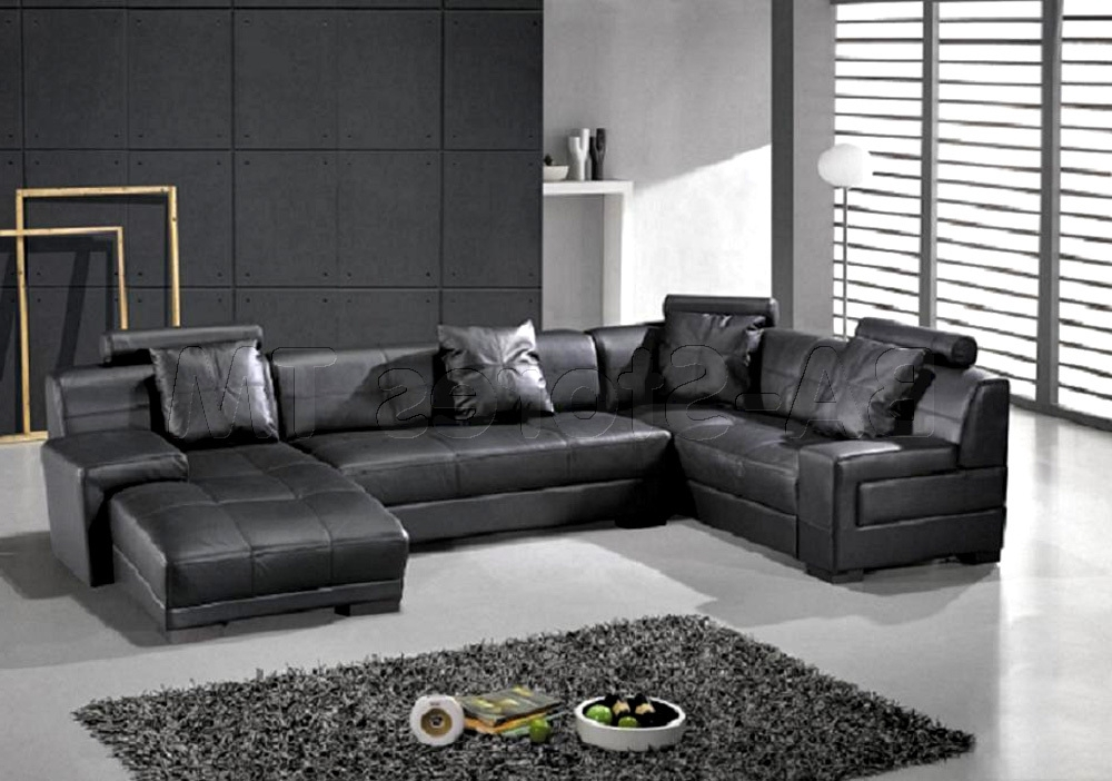 Well Liked U Shaped Leather Sectional Sofas Inside Sectional Sofa Design: Awesome U Shaped Leather Sectional Sofa (View 9 of 10)