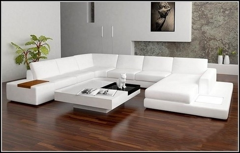 Well Liked White Chaises Regarding Sectional Sofa Design: Beatiful White Leather Sectional Sofa With (View 10 of 15)
