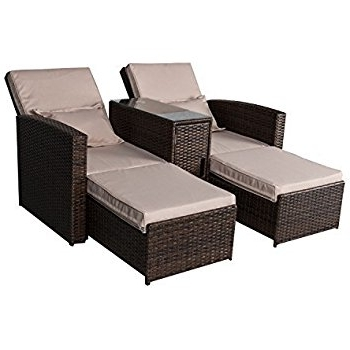 Well Liked Wicker Chaise Lounges Regarding Amazon : Outsunny 3 Piece Outdoor Rattan Wicker Chaise Lounge (View 9 of 15)