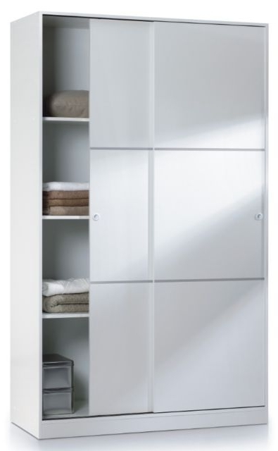 White 120Cm Wide 200Cm Tall Wardrobe 2 Sliding Door With Hanging With Regard To Most Up To Date Tall Wardrobes (View 15 of 15)