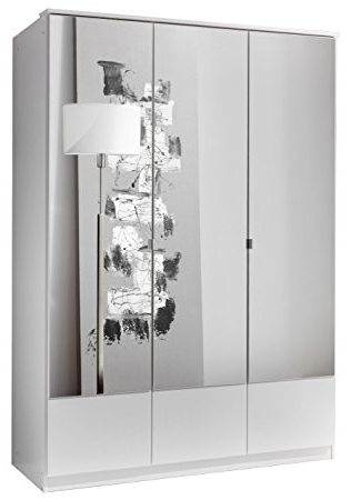 White 3 Door Wardrobes With Mirror Inside Most Current German Imago White 3 Door Mirror Mirrored Door Wardrobe: Amazon (View 4 of 15)
