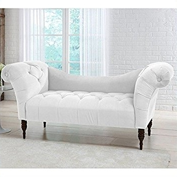 White Chaise Lounges With Regard To Most Current Amazon: Skyline Furniture Tufted Chaise Lounge In White (View 4 of 15)