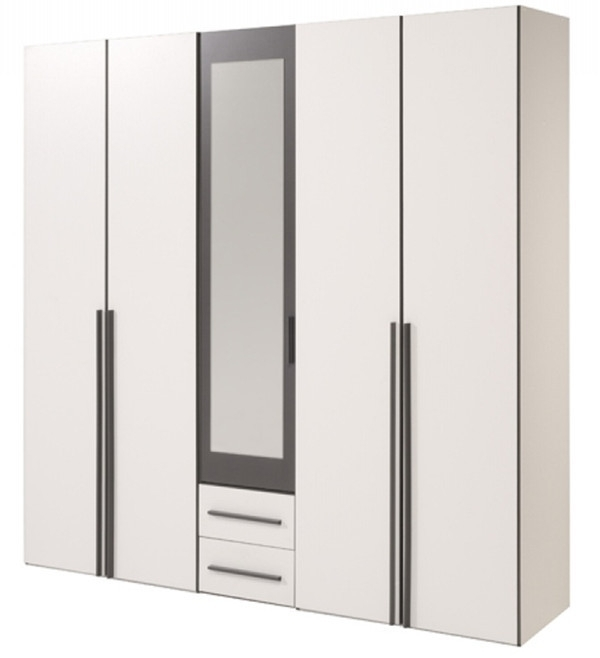 White & Dark Grey Storage Bedroom Set Within 5 Door Wardrobes (View 15 of 15)