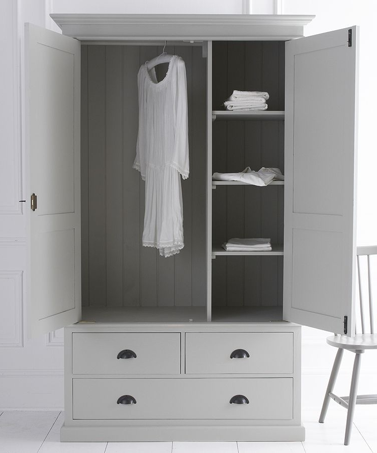 White Double Wardrobes With Drawers With Famous Double Wardrobe With Three Drawers (View 14 of 15)