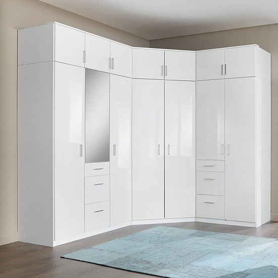 White Gloss Corner Wardrobes Intended For Well Liked Alton Corner Wardrobe In High Gloss Alpine White With (View 2 of 15)