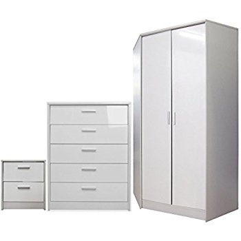 "White Gloss Corner Wardrobes With Regard To Trendy Direct Furniture ""khabat"" 2 Door Corner Wardrobe And 5 Drawer (View 13 of 15)"