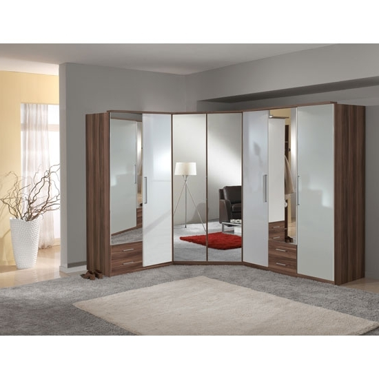 White Gloss Mirrored Wardrobes With Regard To Recent Gastineau Wardrobe In Walnut And White Gloss With Mirror (View 6 of 15)